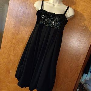 Black sequin top bubble dress